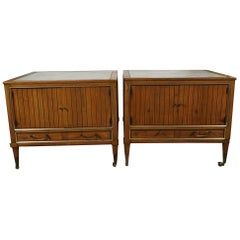 Pair of End Tables with a Maple Finish and Marble Tops