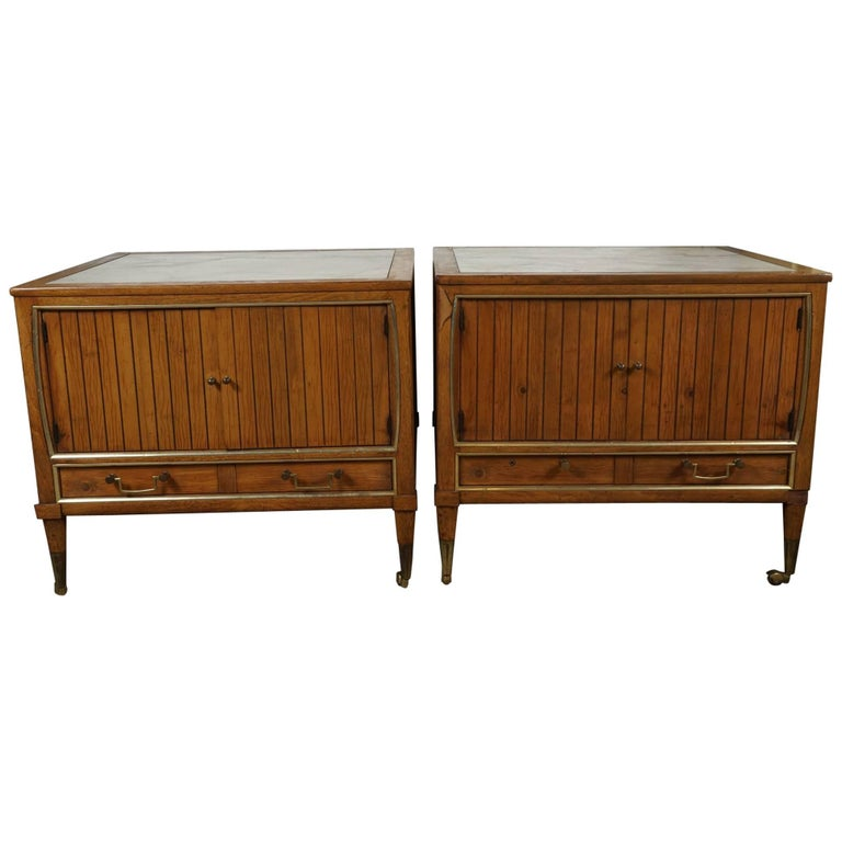 Pair of End Tables with a Maple Finish and Marble Tops For Sale