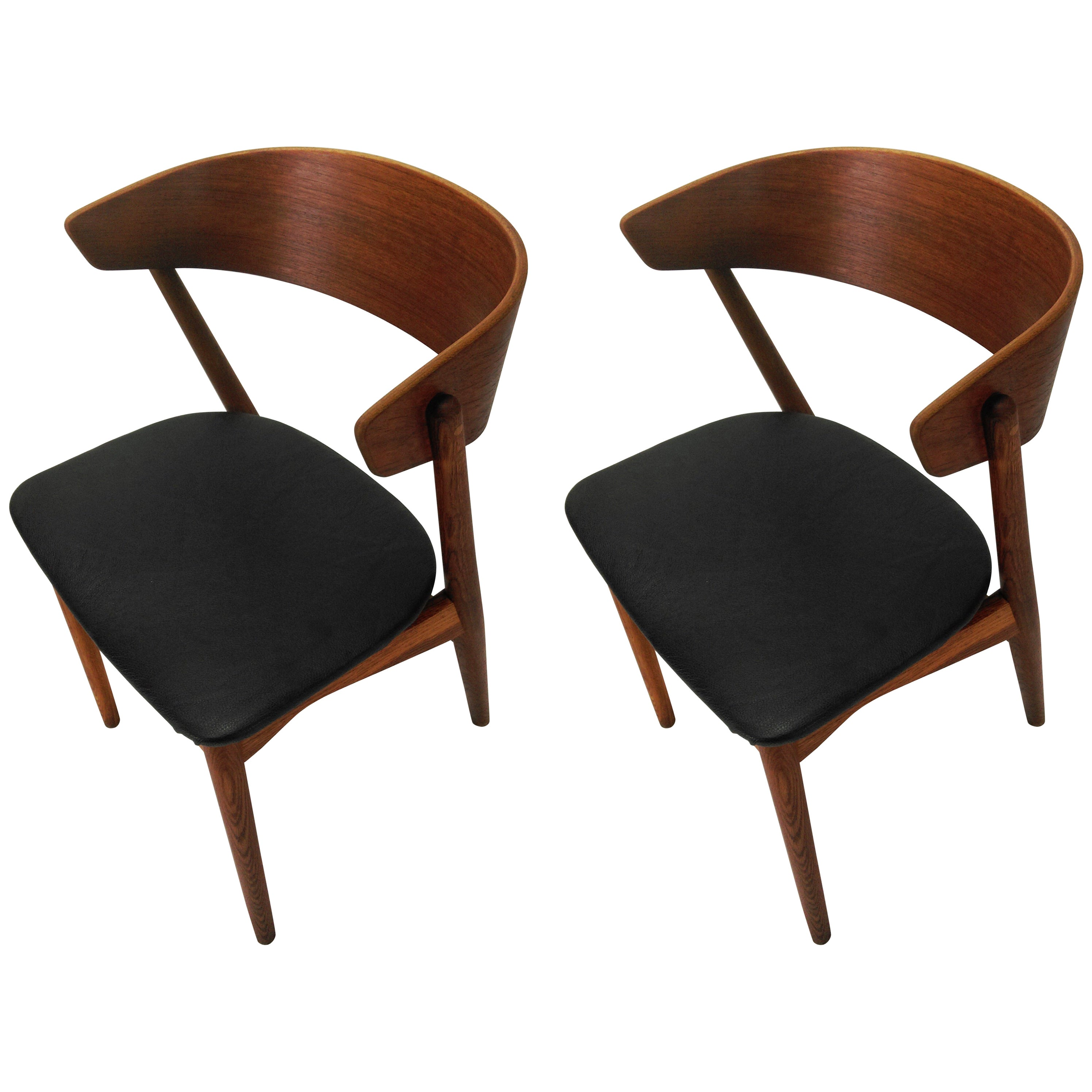 1960s Pair of Danish Dining Chairs in Teak and Oak by Helge Sibast