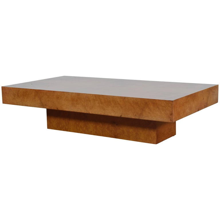 Italian Burl Walnut Veneer Modern Low Coffee Table For Sale At 1stdibs