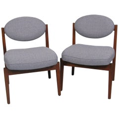 Pair of Midcentury Teak Armless Upholstered Chairs by Jens Risom