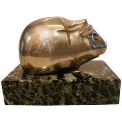 Art Deco Edouard Marcel Sandoz Guinea Pig Bronze Paperweight