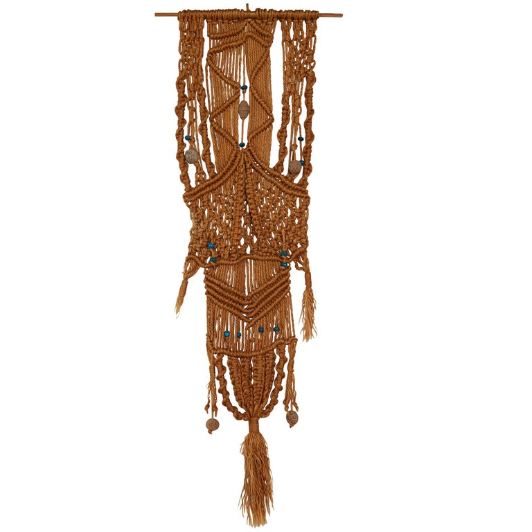 Macrame Wall Hanging with Clay and Azure Beads, circa 1970