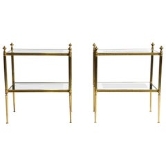 Pair of French Mid-Century Modern Side Tables with Mirrored Glass Shelves