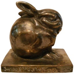 Art Deco Edouard Marcel Sandoz Little Silvered Bronze Lapin, Rabbit, Signed