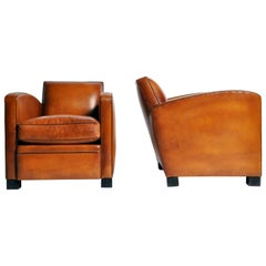Pair of Parisian Golden Brown Leather Club Chairs with Dark Brown Piping