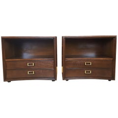 Classic Paul Frankl for Johnson Furniture Walnut Nightstands, Pair, 1960s