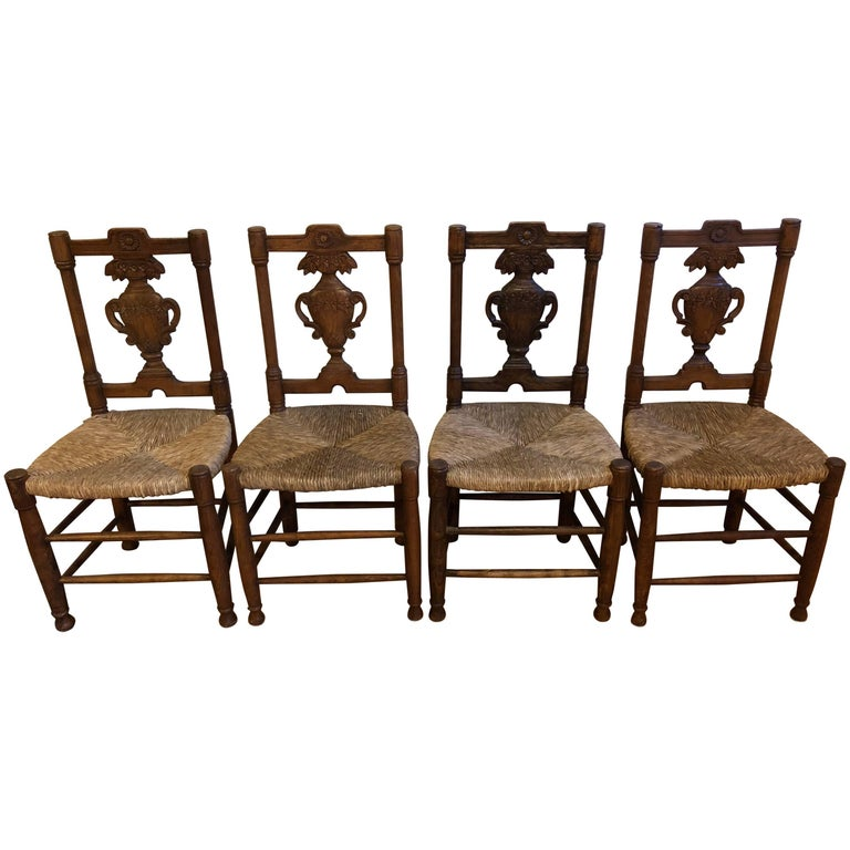 Set of Four French Provençal style Carved Rush Seat Dining Chairs