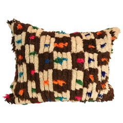 Custom Pillow Cut from a Hand Loomed Wool Moroccan Rug, Atlas Mountains