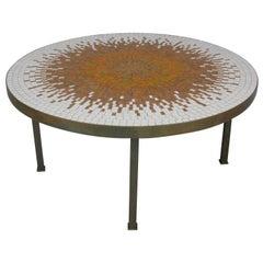 Mid-Century Modern Round Mosaic Coffee Table
