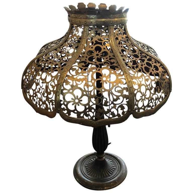 Antique Gilt Lamp with Pierced Brass Shade by Miller