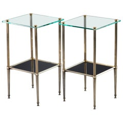 Pair of Brass Side Tables with Glass Top and Lower Shelf of Black Glass