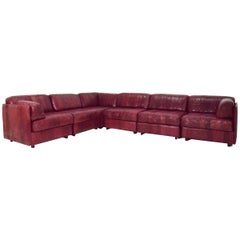 De Sede Style Leather Sectional
