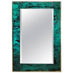 Vintage Faux Malachite Green and Brass Wall Mirror Hollywood Regency