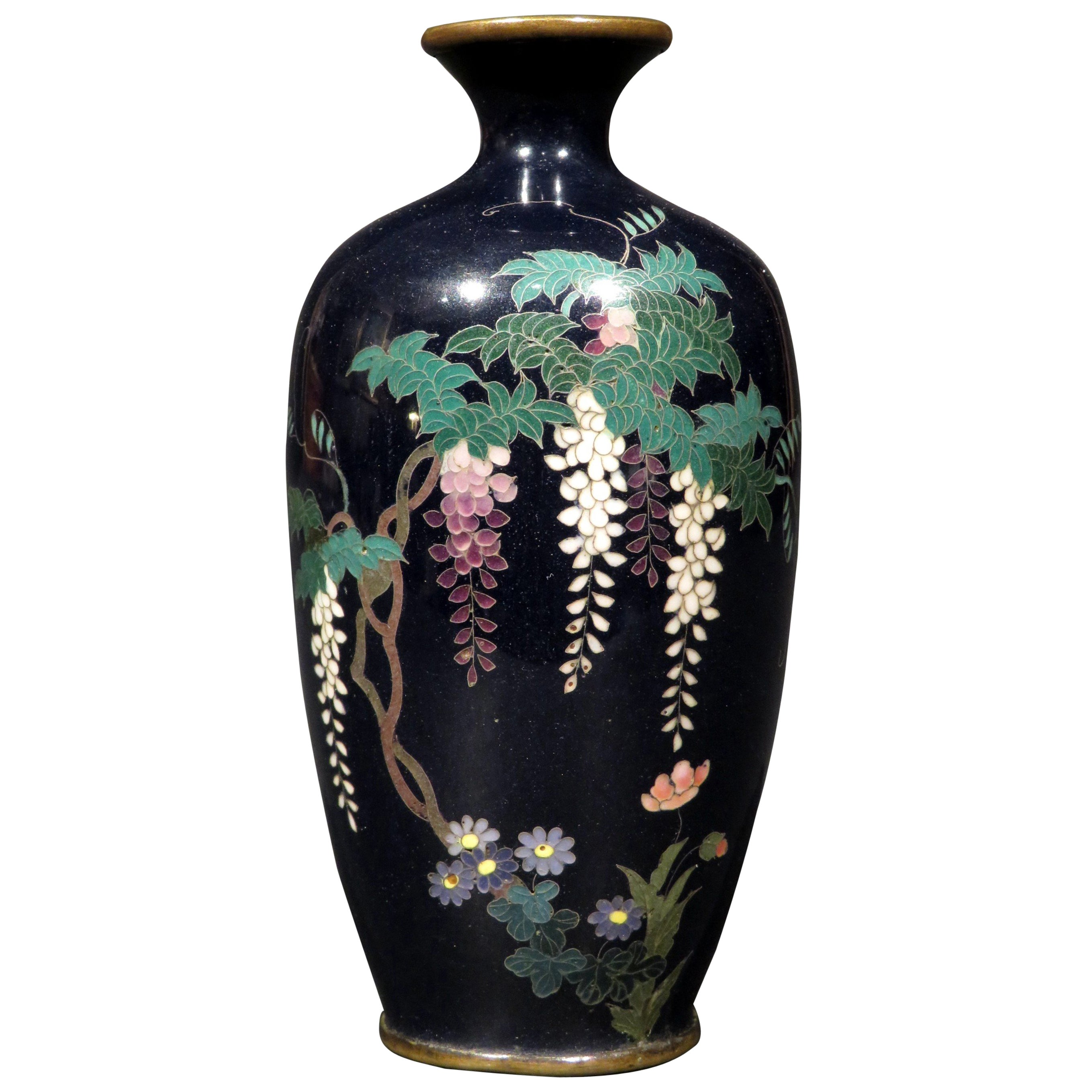 Fine Japanese Silver Wire Miniature Cloisonne Vase, Meiji Period (1868-1912)