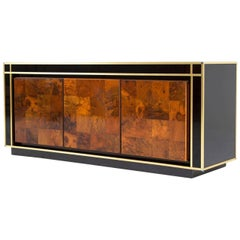 French Burlwood Buffet with Brass, circa 1950