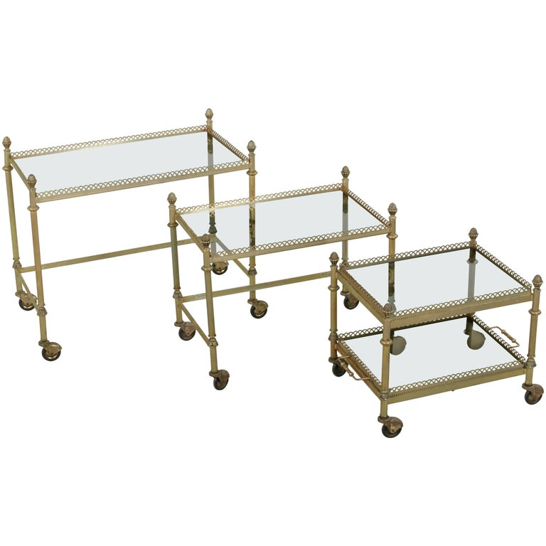 Set of Three Mid-20th Century French Bronze Nesting Tables with Glass Trays