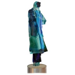 Figurative Blue Glass Cast Sculpture of Women in Cloak
