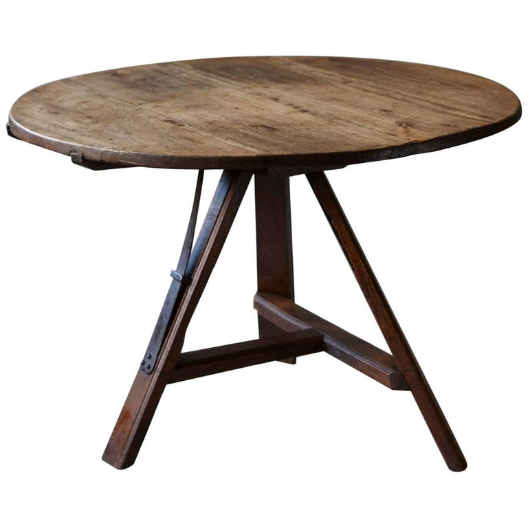 19th Century Tilt Top Wine Tasting or Center Pine Table with Tripod Base