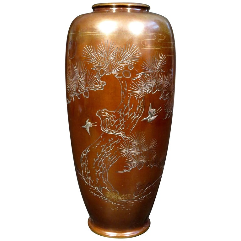 A Large Patinated Japanese Bronze & Mixed Metal Vase, Meiji Period (1868-1912) For Sale