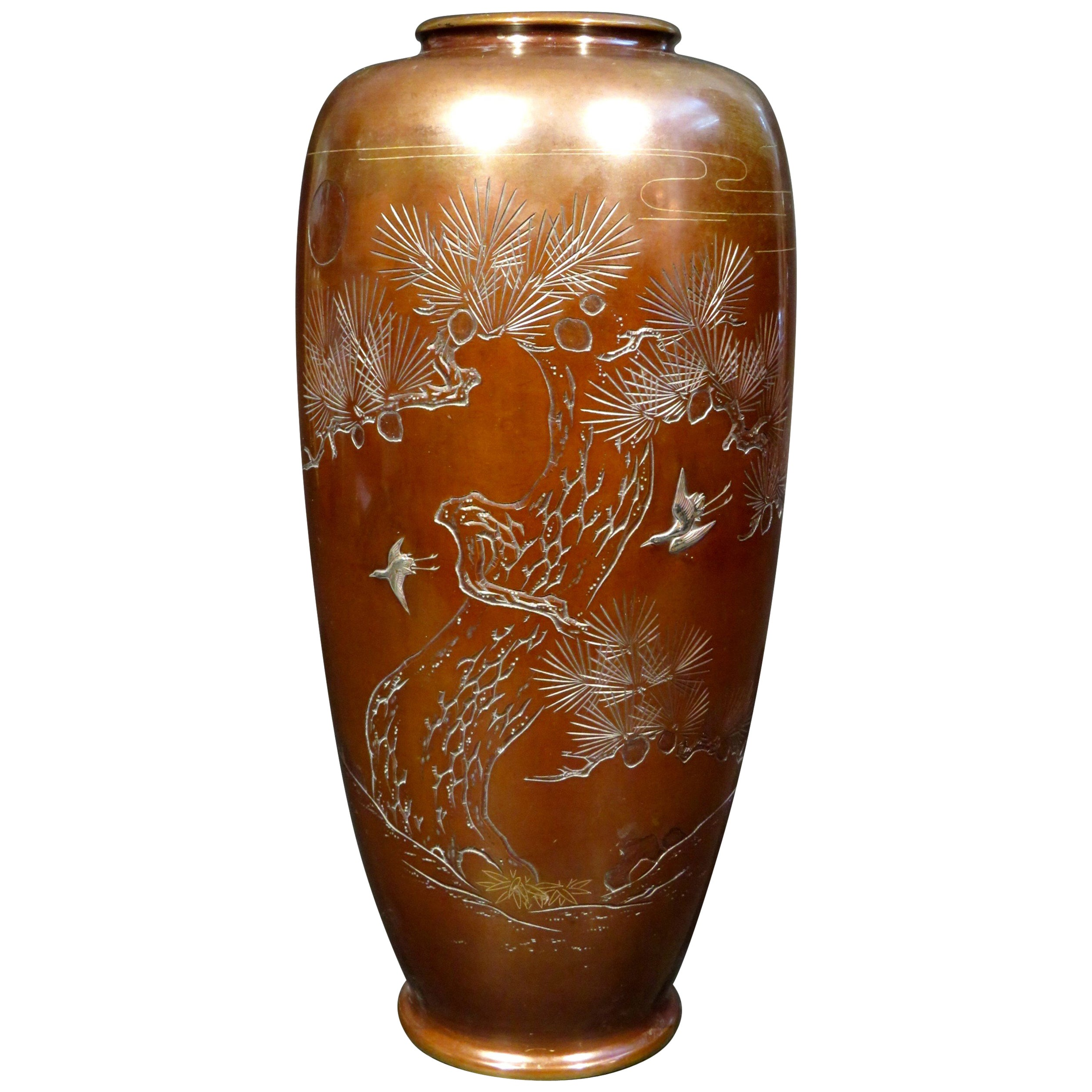 A Large Patinated Japanese Bronze & Mixed Metal Vase, Meiji Period (1868-1912)