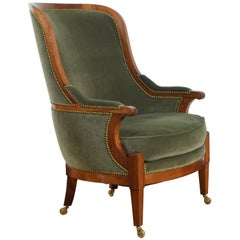 German Neoclassic Fruitwood & Upholstered Bergère Second Quarter of 19th Century
