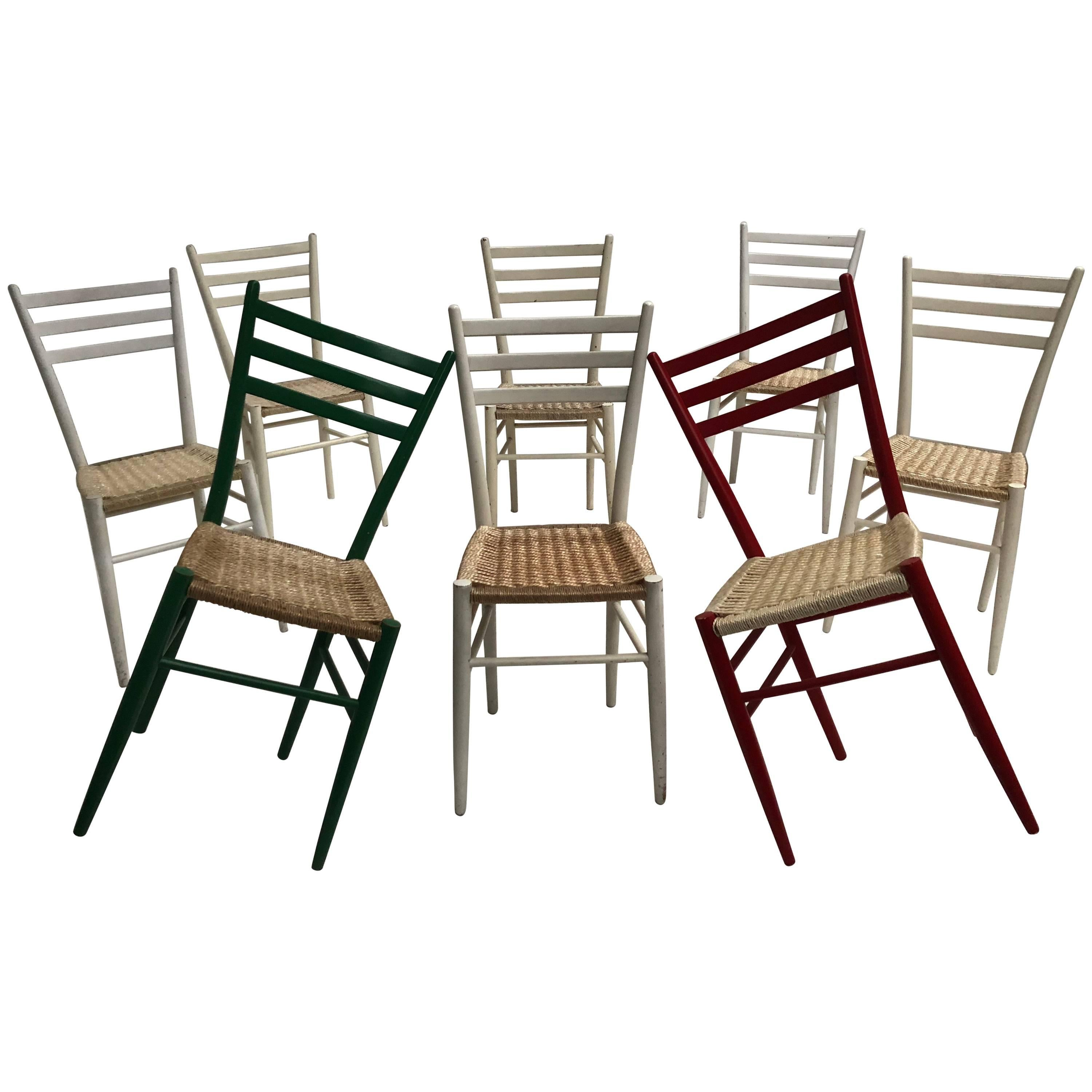 Colorful set of eight vintage gio ponti style chiavari chairs made in italy for sale at 1stdibs