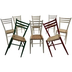 Colorful Set of Eight Vintage Gio Ponti Style Chiavari Chairs, Made in Italy