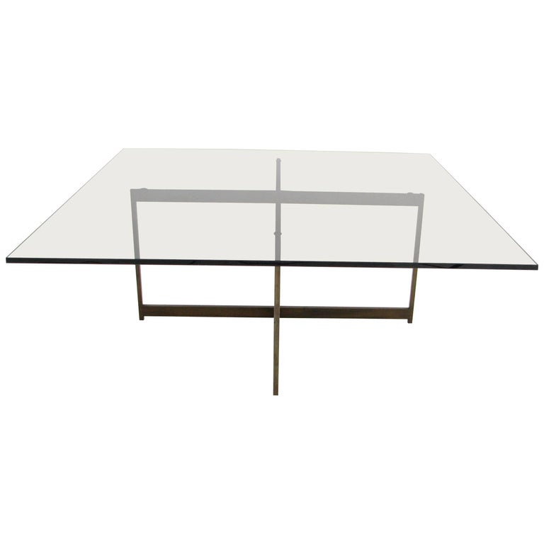 Midcentury Smoked Glass and Bronze Coffee Table in the Manner of Milo Baughman For Sale