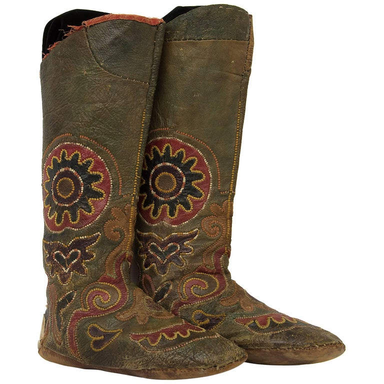 Pair of Antique Embroidered Kirghiz Riding Boots, 1900-1930s