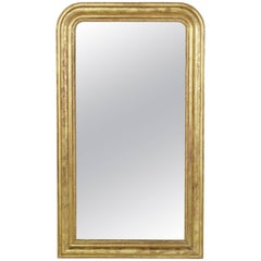 19th Century French Louis Philippe Period Giltwood Mirror with Incised Frame