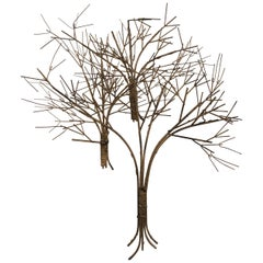 Vintage Metal Tree Wall Art Sculpture Mid-Century Modern