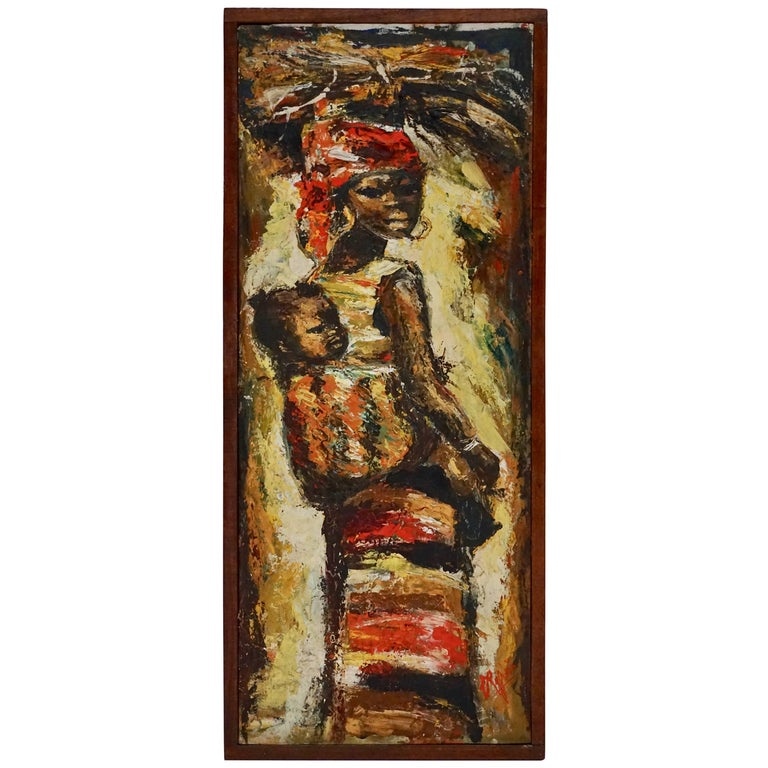 African Painting Woman and Child Kongo For Sale