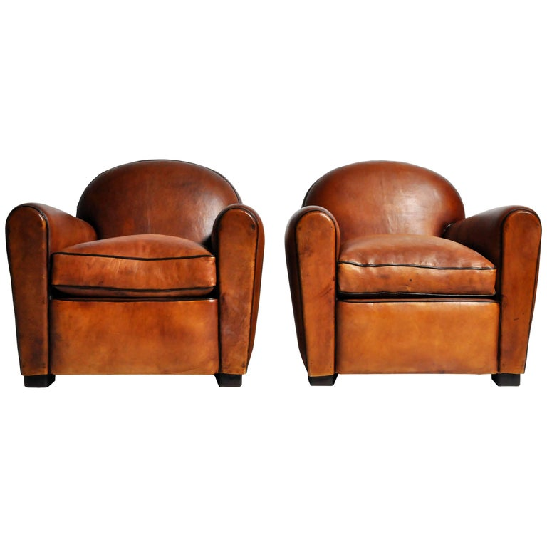 Pair of Parisian Light Brown Club Chairs with Dark Piping