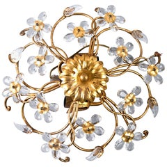 Midcentury Gilt Metal Flush Mount Fixture with Glass Flowers