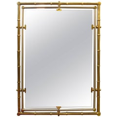 Italian Maison Jansen Style Brass and Steel Mirror