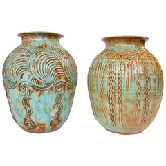 Pair of Sea Green Decorated Mid Century Vases by Sphinx, the  Netherlands