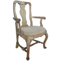 18th Century Swedish Rococo Armchair with Original Pale Green Paint
