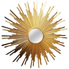 Very Large Continental Gilded Wood Sunburst Mirror