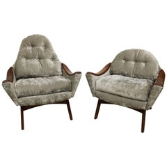 Adrian Pearsall 'Mama' and 'Papa' Lounge Chairs in Velvet