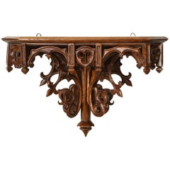 Large Gothic Revival Oak Wall Bracket