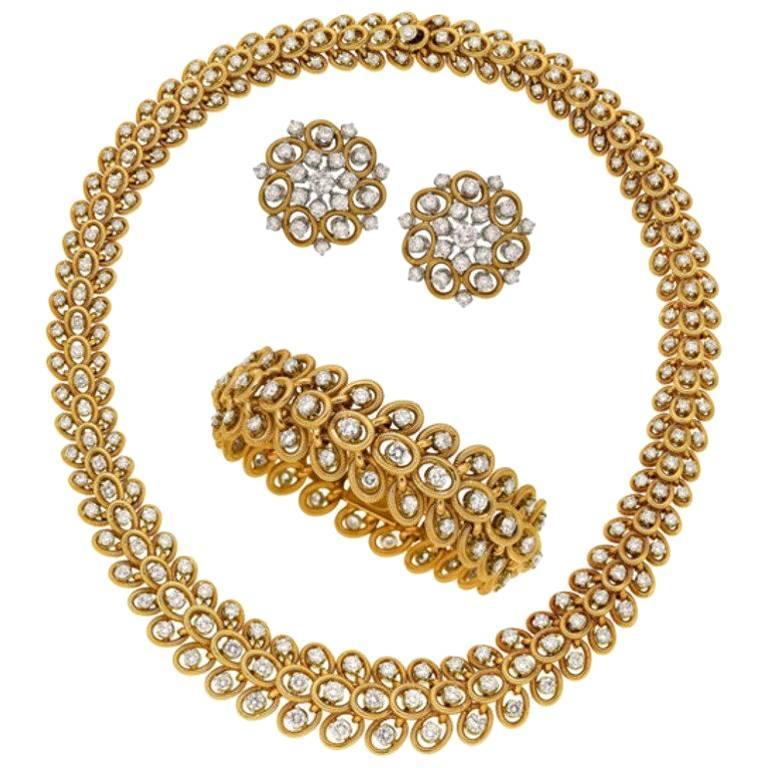 Bvlgari Diamond, Gold 1960s Jewelry Suite by Bulgari For Sale