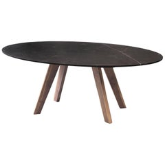 Contemporary Oval Table, Granite, and Walnut, Designed by LCMX