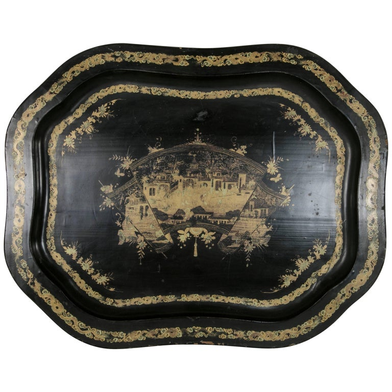 Large 19th Century Chinese Export Black Lacquer Wooden Serving Tray For Sale