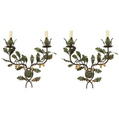 Pair of Painted and Gilt Tôle Wall Lights