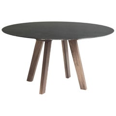 Contemporary Round Table, Granite and Walnut, Designed by LCMX