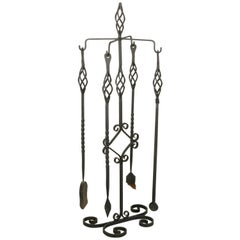 Set of Large Late 19th Century French Wrought Iron Fireplace Tools and Stand