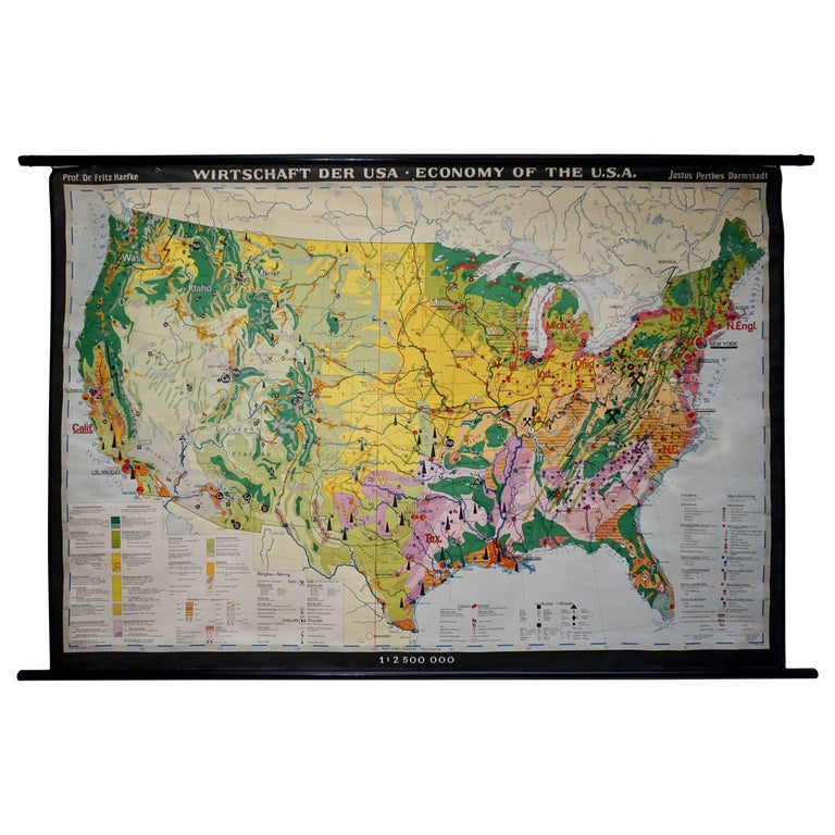 Economy Map of the USA For Sale