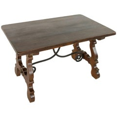 Early 20th Century Spanish Renaissance Style Table or Desk with Iron Stretcher