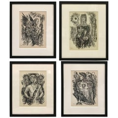 Set of Four Burin Engravings by Albert Decaris